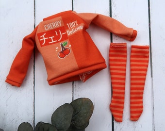 Cherry sweatshirt for Blythe dolls - Sweet summer   1/6 scale doll clothes