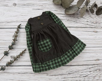 Dress for Blythe doll - Green plaid Boheme collection