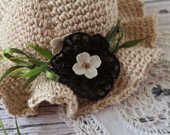 Bohemian hat for blythe doll, Flowers and lace spring hat