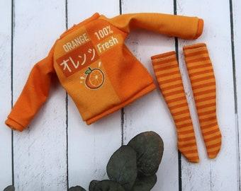 Orange sweatshirt for Blythe dolls - Sweet summer   1/6 scale doll clothes