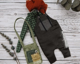 Blythe outfit - Overalls, shirt, scarf and XL bag