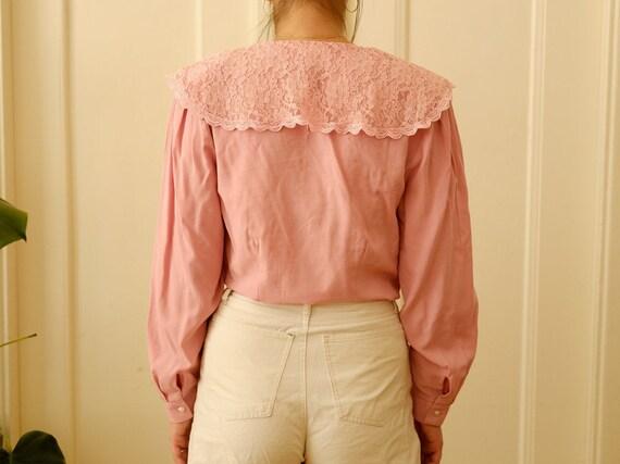 Vintage romantic blouse / Ruffle blouse / Stateme… - image 4
