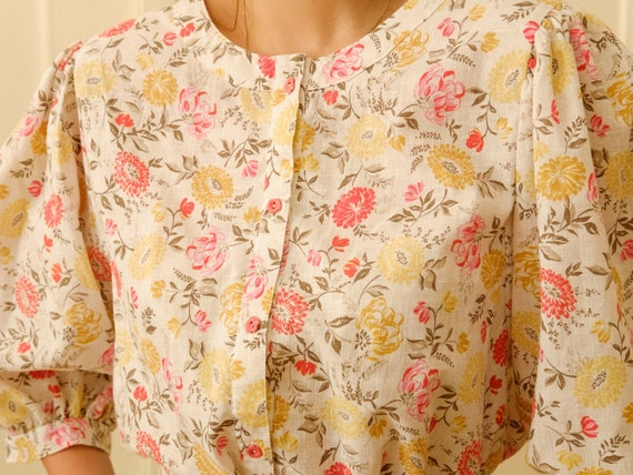 Vintage puff sleeve blouse / Floral print blouse … - image 7