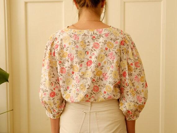Vintage puff sleeve blouse / Floral print blouse … - image 6