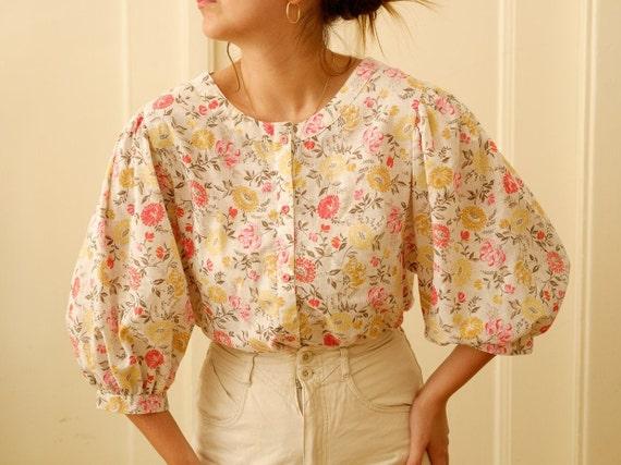 Vintage puff sleeve blouse / Floral print blouse … - image 1