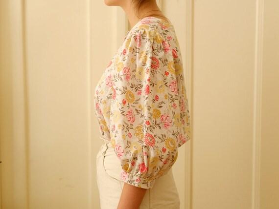 Vintage puff sleeve blouse / Floral print blouse … - image 5