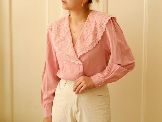 Vintage romantic blouse / Ruffle blouse / Stateme… - image 2