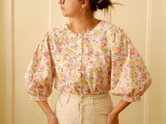 Vintage puff sleeve blouse / Floral print blouse … - image 3