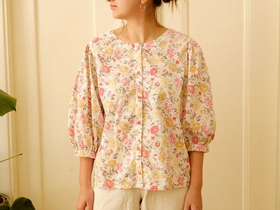 Vintage puff sleeve blouse / Floral print blouse … - image 4