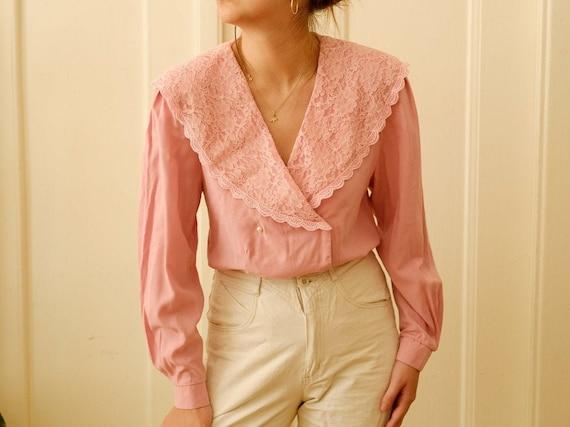 Vintage romantic blouse / Ruffle blouse / Stateme… - image 1