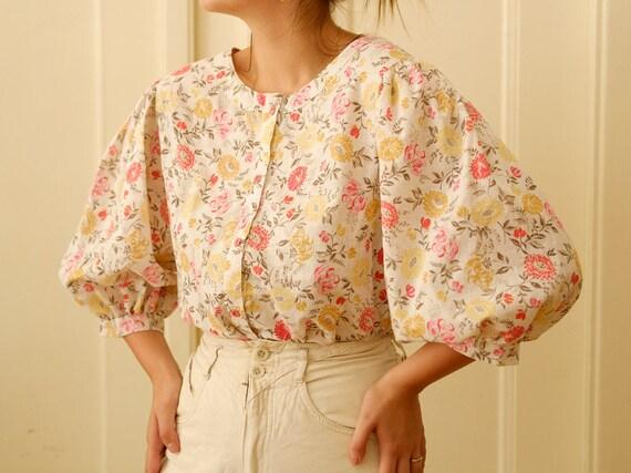 Vintage puff sleeve blouse / Floral print blouse … - image 2