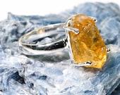 Rough Citrine Ring, Handmade Silver Ring, Natural Citrine Ring, Gemstone Ring, Fashion Ring, Stacking Ring, Yellow Stone Ring
