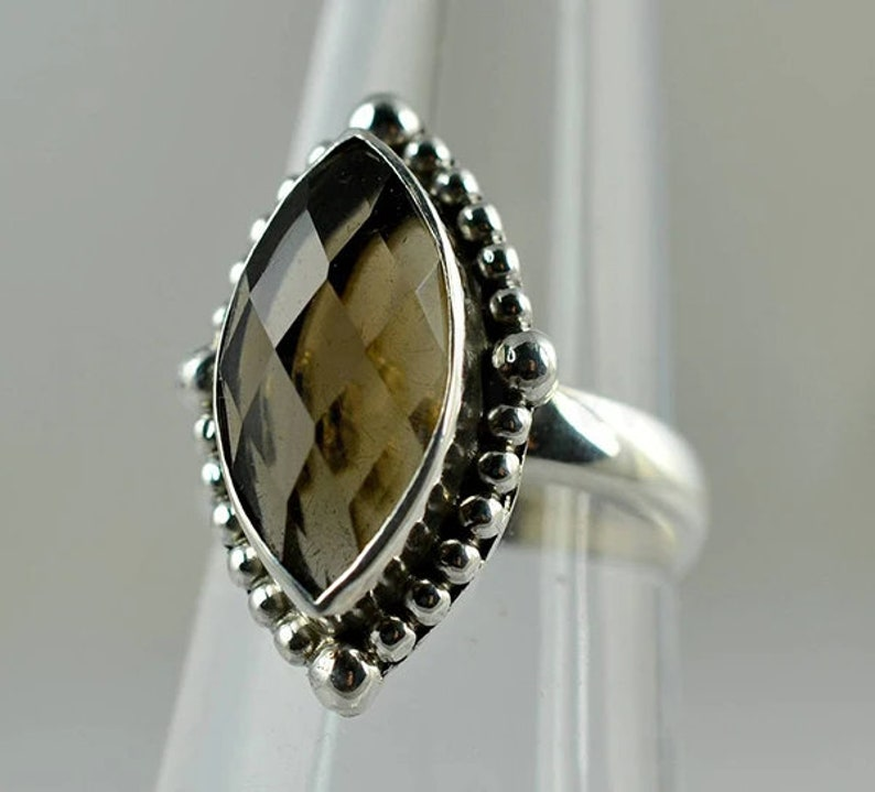 Boho Natural Smoky Quartz Ring Statement Ring Bezel Set Ring 925 Sterling Silver Marquise Gemstone Faceted Stone Simple Band Ring