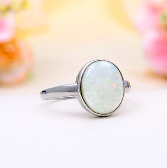 Dainty Ring Gift For Your Loved Ones Minimalist Ethiopian Opal Ring Handmade Precious Stone Ring Christmas Gift Sterling Silver Ring
