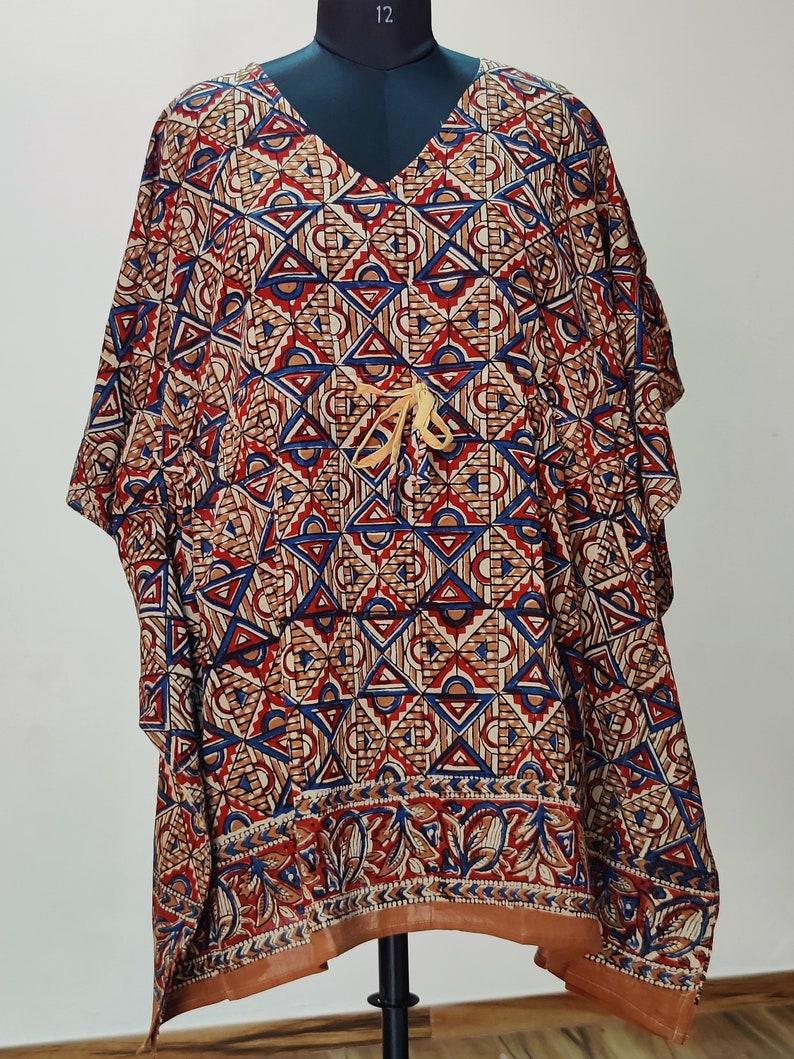 Handmade block print kaftan,Short kaftan,Resort wear,Swim cover up,Gifts for her,Boho dress block print kaftan 017