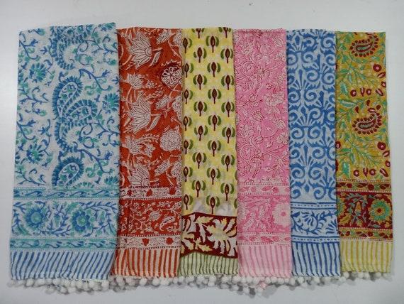 10 pcs wholesale lot pure Cotton Hand Block Print women wear scarf Sarong Stole