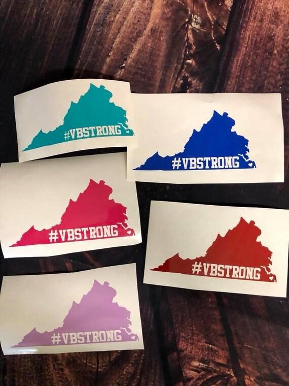 Vbstrong Vbstrong Vinyl Decal Stickers Virginia Beach Strong Custom Bumper Stickers Heart Home