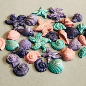 Tiny 0.5-1 inch fondant edible sea shells under the sea beach theme party for cakes or cupcakes
