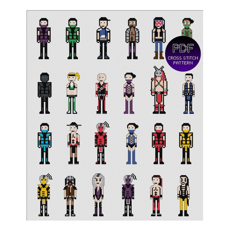 Ultimate Mortal Kombat 3 easy Cross Stitch Pattern PDF - 8bit pixel art  style