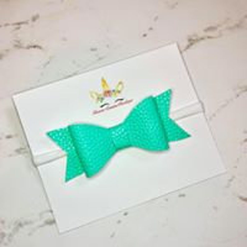 Solid Colored Faux Leather Hair Bow
