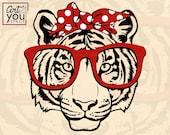 svg Tiger glasses bandana Cricut, Wild Animal Face Head, Zoo Clipart, mascot logo Vector cut, Download PNG, dxf, shirt svg, printable girly