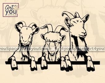 Svg goats, funny peeking farm animals clipart, billy goat Cricut vector cut file Download, ibex head hoof, livestock, png, dxf printable art