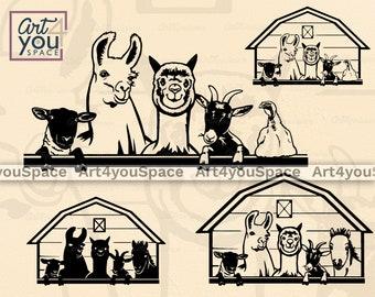 Llama Aplaca Sheep Goat Ponny Turkey SVG files for Cricut, Farm animals Barn Clipart, Vector Download, Farmhouse Printable art Png, Dxf
