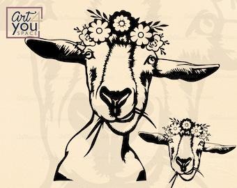Goat flower wreath SVG files cricut, clipart farm animal, head bandana vector image download, DXF, PNG printable art, floral crown