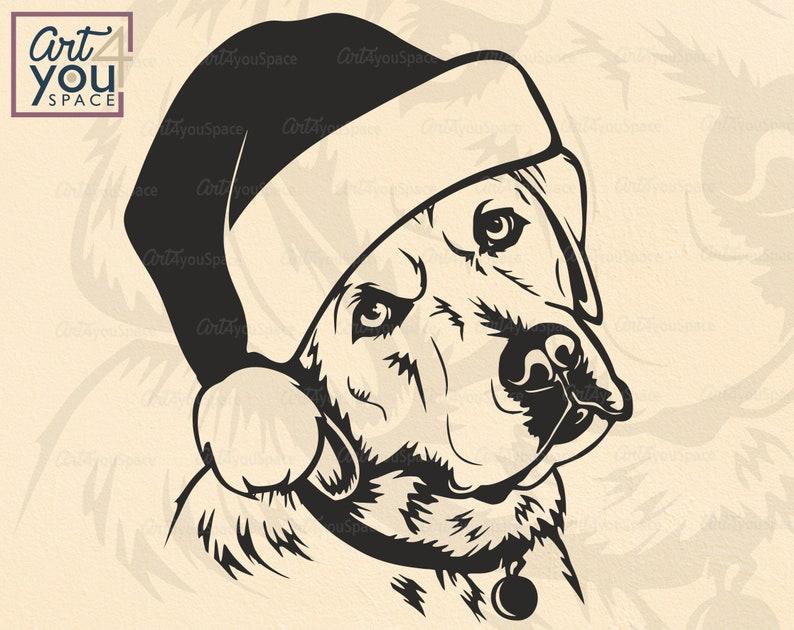 santa dog svg cricut Lab clipart t shirt stencil Christmas Labrador Retriever svg png printable cute Face Head vector download dxf