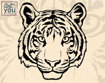 Tiger Head SVG Cricut, Wild Animal Face, Zoo Clipart, mascot logo Vector, Download PNG, dxf cut file, t shirt stencil, printable, silhouette
