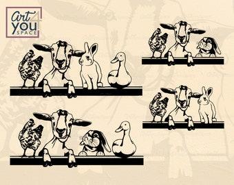 Farm animals clipart, svg files for Cricut, Chicken Goat Rabbit Duck Peeking, Farmhouse art dxf, vector graphics download, png printable