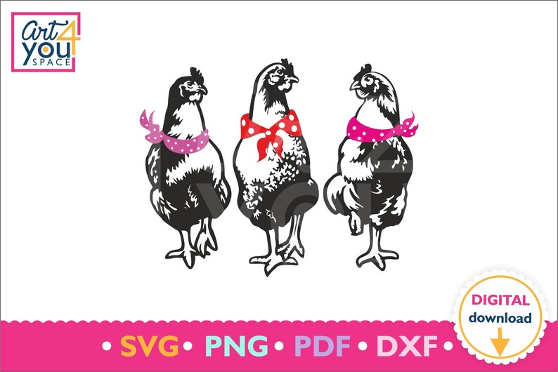 Chickens Svg, Bandana, hen, Fowl, Poultry Farm, Pet, girlfriends, Girly,  Download, Clipart, Vector, Cricut, Printable, Png, DXF