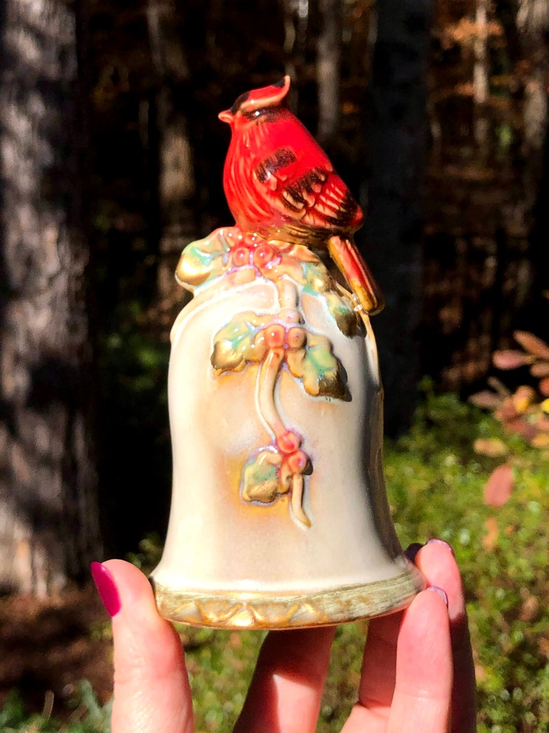 Christmas Ceramic Bell with Figural Red Cardinal Handle Bird Lover Gift Embossed Holly /& Berries Winter Holiday Bell Collectible Bell