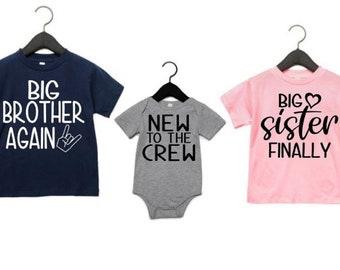 2 T-Shirts 1 Vest Big Brother Little Brother Big Sister Little Sister Big  Sets
