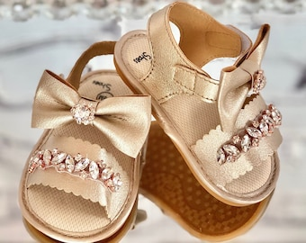 Gold baby sandals | Etsy