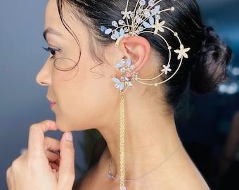 Oversized rhinestone climber earrings, One ear earrings, climber earrings, ear cuff wrap behind ear earrings, pageant cuff earrings