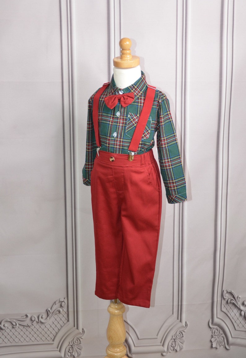 Boys holiday outfit baby boy Christmas outfit boys plaid shit with suspenders and bowtie toddler boys outfit