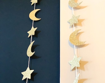 784abf4d9 Set of 2 - Ramadan Moon & Stars Garlands - Ramadan Decoration - Eid  Decoration - String of gold glitter moons and stars