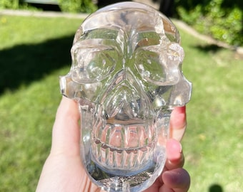 Clear Quartz Crystal Skull with Rainbows from Brazil