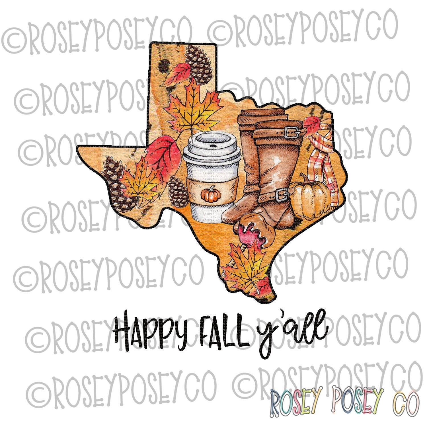 Texas, Happy Fall - Sublimation Design Digital Download - PNG