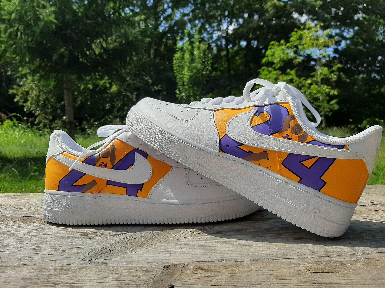 Nike Air Force 1 Kobe Bryant 24 Lakers Hand Painted Custom Sneaker