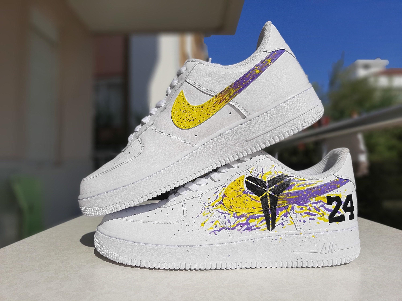 Nike Air Force 1 Kobe Bryant 24 Black Mamba Lakers Hand Painted Custom Sneaker