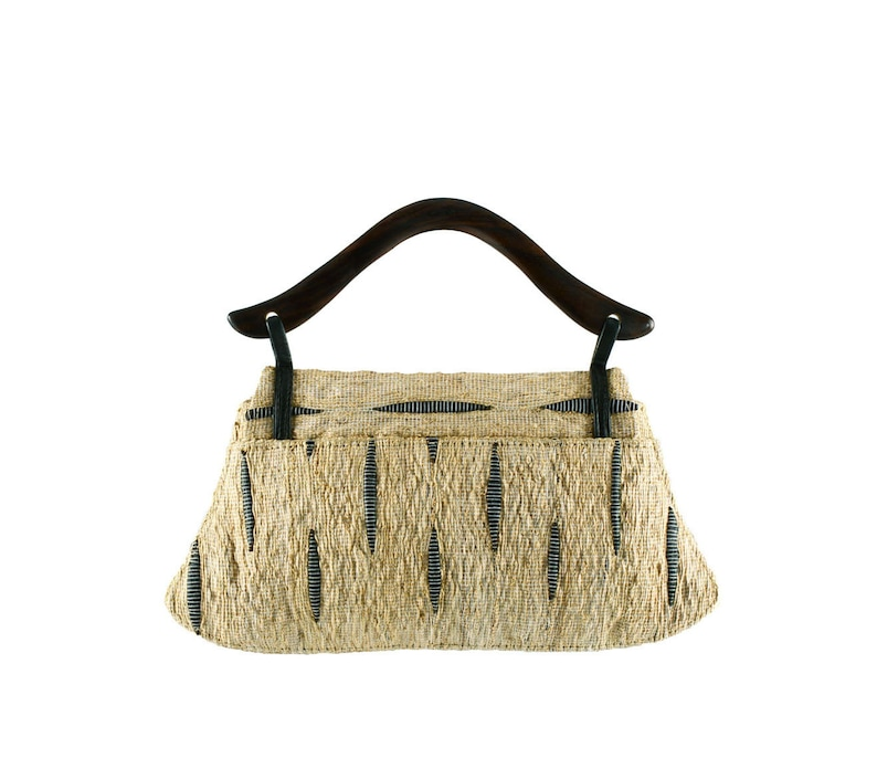 Hand Loomed Bag Hand Woven Bag WickerStraw Bag,Party Purse,Unique Vetiver Elegant Evening Bag with unique Rosewood Handle Statement Bag