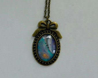 DISCOUNTS for multiple purchases! Blue Poured Paint Oval Pendant Silver chain