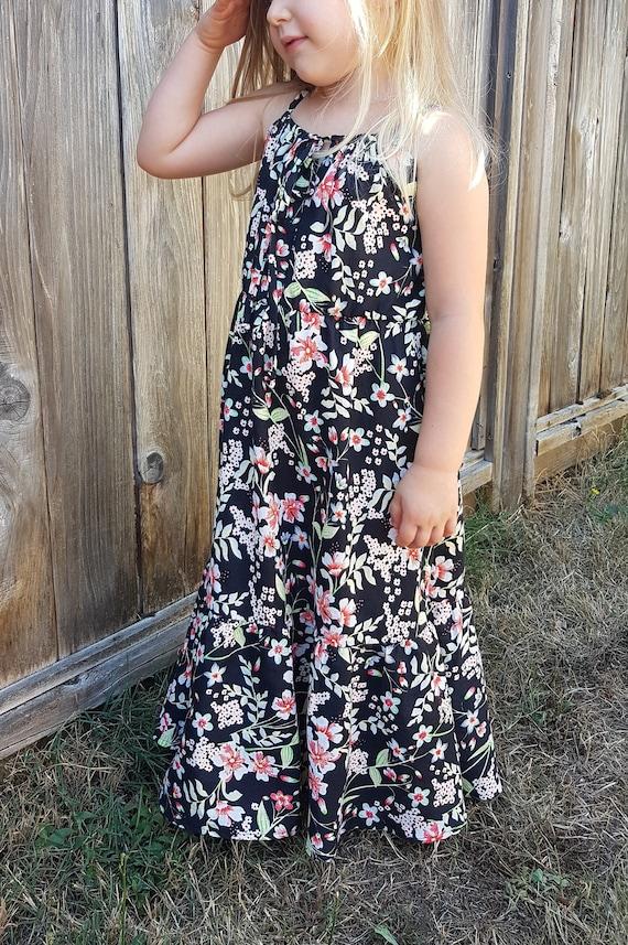 Floral maxi dress little girls long