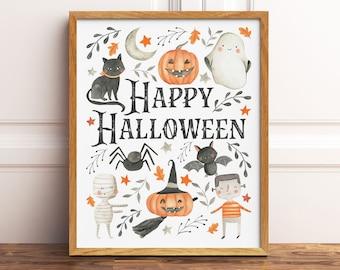 Happy Halloween Printable Wall Art, Watercolor Halloween Art Print, Cute Kids Halloween Wall Art, Halloween Print, Downloadable Prints