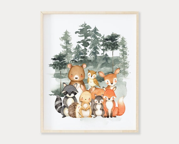 Woodland Nursery Woodland Animals Printable Watercolor Art Stag Tree Forest Deer Rustic Adventure Nursery Print Set of 3 Woodland Decor