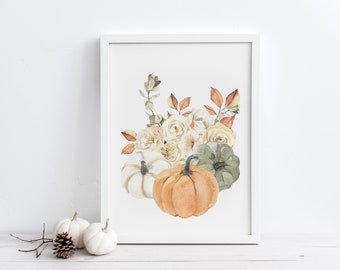 Pumpkin Fall Bouquet Printable Wall Art, Watercolor Floral Autumn Decor, Digital Download, Rustic Fall Decor, Botanical Downloadable Prints