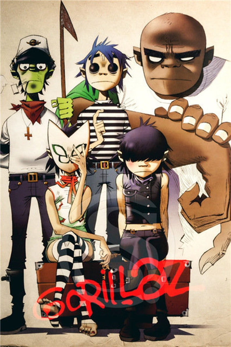 0e0f5ed2594b9 Gorillaz silk poster gift 2019 sizes are custom silk poster wall decor  decoration