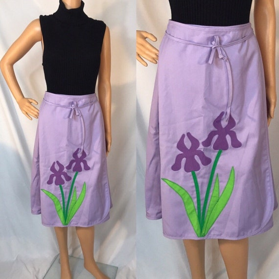 70s lavender fitted slip skirt  size small